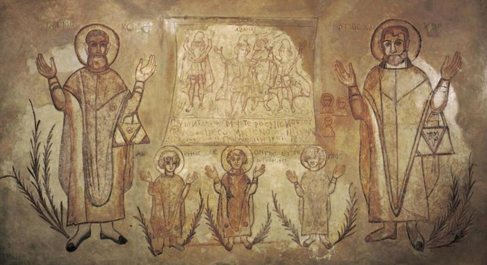 The Copts are the Christian Egyptians. Mural from Wadi Sarga Abbey, 500 AD, British Museum, London.