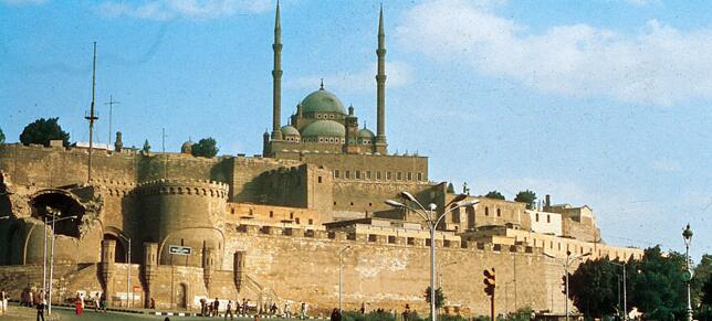 The Muhammad Ali Mosque (1857) in Cairo is at the top of the great citadel, begun by Saladdin in 1179.